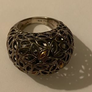 John Hardy leaf domed ring with 14kt and 925